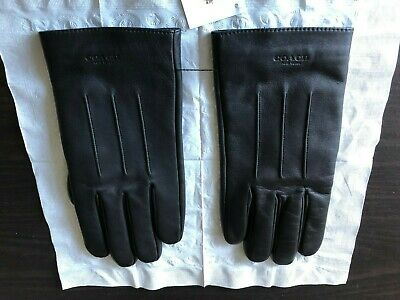 $85 • Buy COACH Signature NY Men's Leather Gloves Driving Basic Wool Lined L NWT F54182