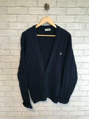 Mens Vtg CHEMISE LACOSTE Cable Knit Cardigan Sweater Jumper Size 5 Large #D6306 • 39.95£