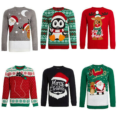 £9.95 • Buy Unisex Christmas Jumper Mens Womens Knitted Xmas Pattern Winter Pullover Sweater