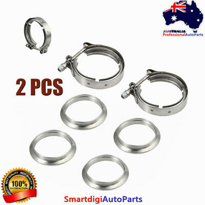 AU42.99 • Buy 2x 76mm 3  V-Band Flange&Clamp Kit For Turbo Exhaust Downpipes Stainless Steel