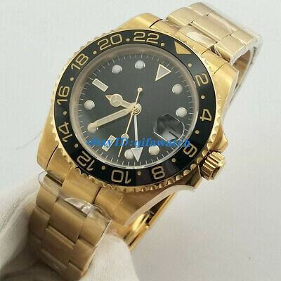 £64.40 • Buy 40mm Sterile Full Gold Plated Case Sapphire Glass DG3804 GMT Automatic Watch