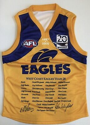 AU349 • Buy JOHN WORSFOLD & MICK MALTHOUSE Signed Jumper West Coast Eagles 20 Years AFL COA