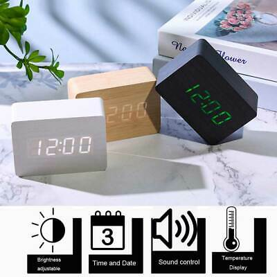 Wood LED Alarm Clock Voice Control Night Light Thermometer Digital Clock W/ USB • 12.99£