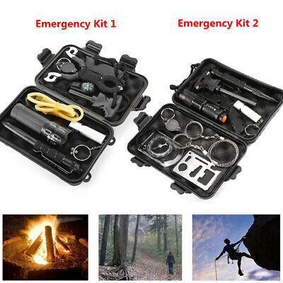 9 In 1 SOS Kit Outdoor Emergency Kit Equipment Box For Camping Survival Gear • 12.99£