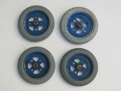 Meccano 2  Grey Tyres X 4 On Blue Pulleys #142a & #20c. Original • 14.95£