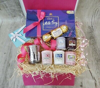 Yankee Candle Votive Set Glass Holder Hamper Milk Chocolate Treat Send Gift Box • 19.99£