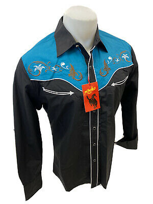 $34.97 • Buy Men RODEO WESTERN BLACK TEAL STITCH Long Sleeve Woven SNAP UP Shirt Cowboy 506