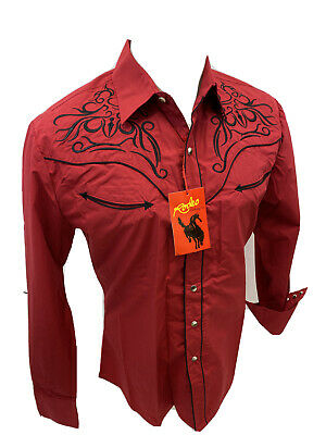 $34.97 • Buy Men RODEO WESTERN RED BLACK STITCH Long Sleeve Woven SNAP UP Shirt Cowboy 537