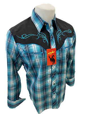 $34.97 • Buy Mens RODEO WESTERN TEAL BLUE PLAID STITCH Long Sleeve SNAP UP Shirt Cowboy 531