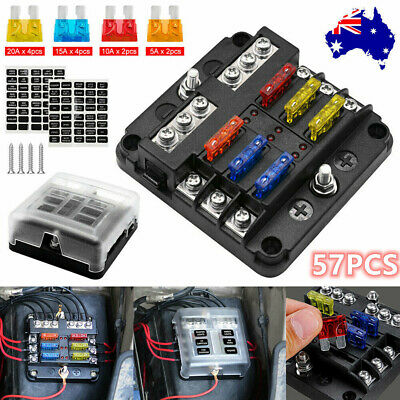 AU18.99 • Buy 57Pcs 6 Way Auto Blade Fuse Box Holder Block Panel 32V Car Power Distribution AU