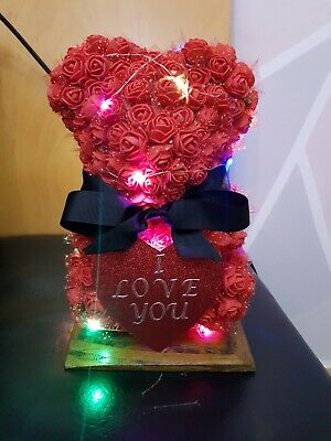 Handmade Artificial Red Rose Teddy Bear I Love You With Battery Powered Lights  • 12£