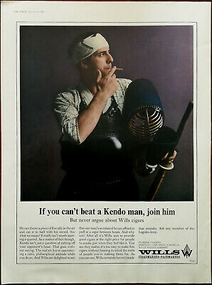 Wills Cigarmakers If You Can't Beat A Kendo Man Join Him / Pure New Wool Ad 1966 • 6.49£