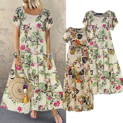 AU18.59 • Buy AU STOCK ZANZEA Women A-Line Sundress Short Sleeve Kaftan Long Maxi Floral Dress