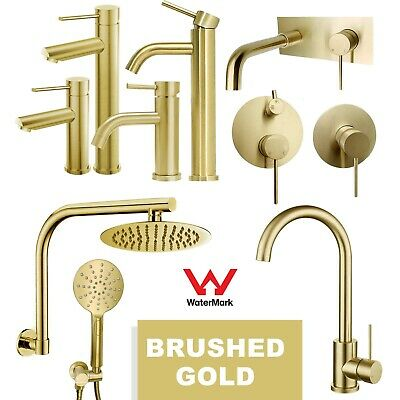 AU101.43 • Buy Round Brushed Gold Bathroom Tall Basin Mixer Tap Wall Swivel Spout Shower Head