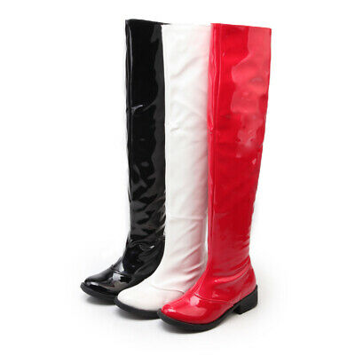 Women Block Low Heel Go Go Knee High Boots Patent Leather Dance Riding Casual • 27.90£