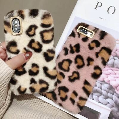 Fashion Leopard Faux Fur Fluffy Plush Phone Case Cover For IPhone 11 Pro XS XR 8 • 4.59£