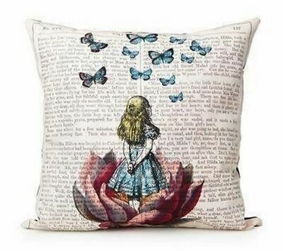 Steampunk  Victorian Butterfly Book Alice In Wonderland Cushion Cover Linen  • 6.50£