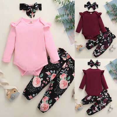 Newborn Baby Girls Ruffle Romper Tops+Floral Pants+Headband Clothes Outfits Set • 11.09£