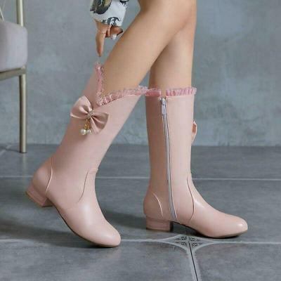 Sweet Womens Bowknot Round Toe Block Heel Wedding Pumps Mid-Calf Boots Ting1 • 38.12£