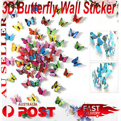AU3.95 • Buy 12 Pcs 3D Butterfly Wall Decal Removable Sticker Kids Nursery Decoration Magnet