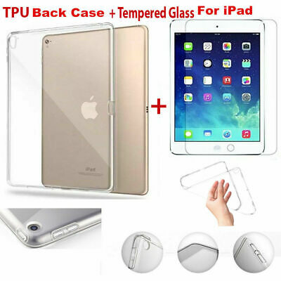 AU7.49 • Buy For IPad Mini Air Pro 12.9 9.7 Silicone Clear Soft TPU Case Cover+Tempered Glass