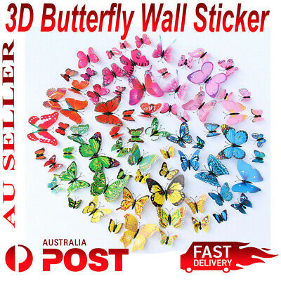 AU4.45 • Buy 12Pcs 3D Butterfly Wall Sticker Home Decor, Wedding Decor Removable Decoration