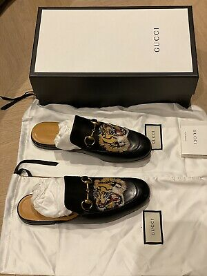 AU679.84 • Buy Gucci Mens Tiger-appliqué Backless Leather Loafers