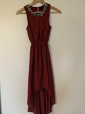 New Look Girls 915 Burgundy Red Embellished Neck Line High-low Dress 10-11 • 9£