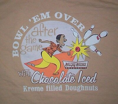 $49.99 • Buy Rare KRISPY KREME EMPLOYEE CHOCOLATE DOUGHNUT BOWLING T Shirt Small Starbucks