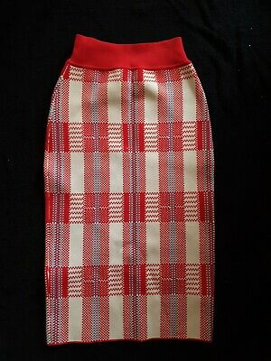 AU129 • Buy BNWT Scanlan Theodore Crepe Knit Skirt Red Check M Or Red M  RRP $350
