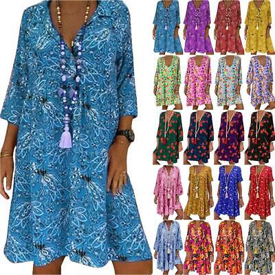 AU29.06 • Buy Plus Size Women Boho Loose Tunic Dress Floral Summer Beach Baggy Kaftan Dresses