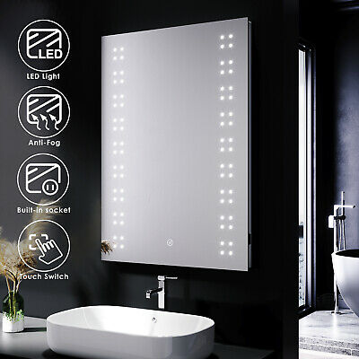 £79.99 • Buy Bathroom Mirror With Shaver Socket Demister LED Illuminated Light Touch Control