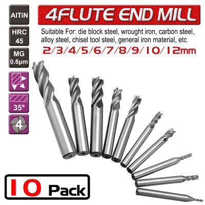 10Pc Solid Carbide End Mill 4 Flute TiAlN Coated Slot Drill Bit Set Tools 2-12mm • 12.59£