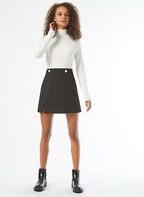 £12.99 • Buy Miss Selfridge Womens Black Boucle Skirt Casual A-Line Checked Buttoned Slit