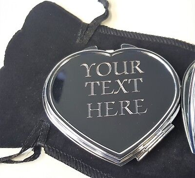 ENGRAVED SILVER HEART COMPACT MIRROR Personalised Valentines Birthday Xmas Gift  • 5.99£