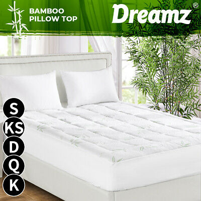 AU60.99 • Buy Dreamz Bamboo Pillowtop Mattress Topper Protector Cover Underlay Soft Filling