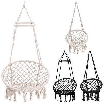 Swing Hammock Hanging Rope Chair Seat Soft Indoor Outdoor Garden Cotton Woven • 167.94£