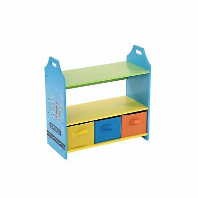 NEW! Colourful Childrens Toy Storage Crayon Unit Shelves With 3 Drawers Chest • 27.99£