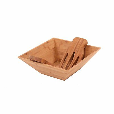 £14.99 • Buy NEW! Wooden Bamboo Salad Pasta Mixing Bowl With Serving Tongs