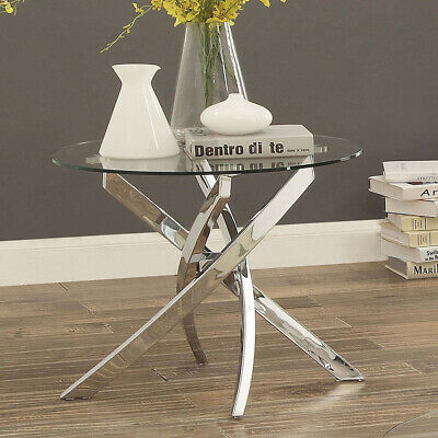 Modern Clear Glass Dining Table With Chrome Legs Coffee Tea Table Home Office • 129.95£