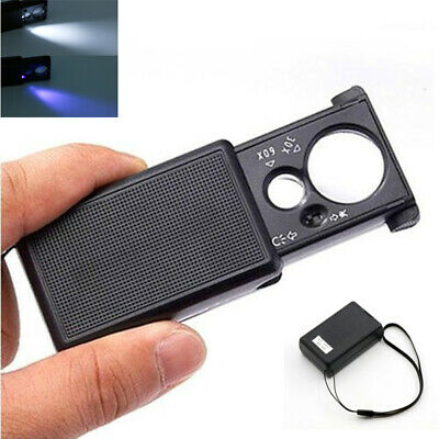 £3.69 • Buy 30X 60X Magnifier Reading Magnifying Glass Jewelry Loupe With LED Light Foldable
