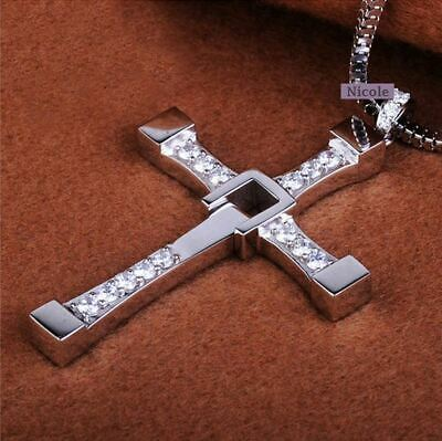 AU8.89 • Buy THE FAST And The FURIOUS Dominic Toretto's CROSS Chain Silver Pendant Necklace