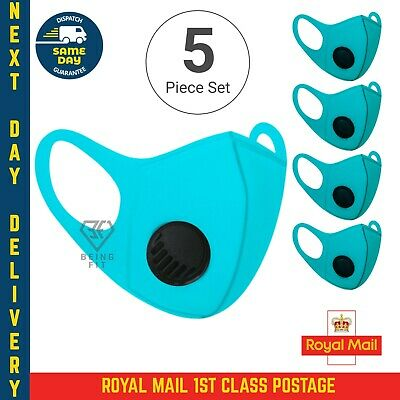 5 X Breathable Air Flow Blue Mask Washable Face Mouth Protection With Filter UK • 4.99£