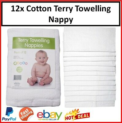 AU37.99 • Buy 12x Baby Cloth Cotton Nappy Nappies Terry Towelling Reusable Soft Infant Newborn