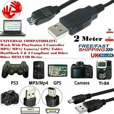 2M MINI USB Data & Charger Cable Lead For SAT NAV Garmin TomTom GPS GO One Start • 2.35£