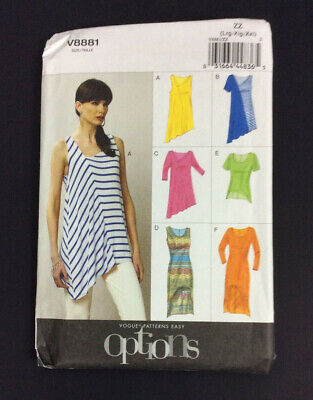 Vogue V8881 Asymmetrical Top High Low Dress L-2XL Easy Sewing Pattern UNCUT • 13.73£
