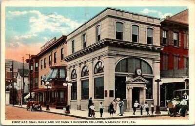$17.50 • Buy Postcard First National Bank & Mc Canns Business College Mahanoy City Pa 1922
