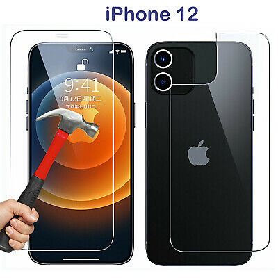 AU6.99 • Buy 9H Tempered Glass Screen Protector Guard For Apple IPhone 12 Front And Film Back