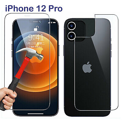 AU6.99 • Buy 9H Tempered Glass Screen Protector For Apple IPhone 12 PRO Front And Film Back
