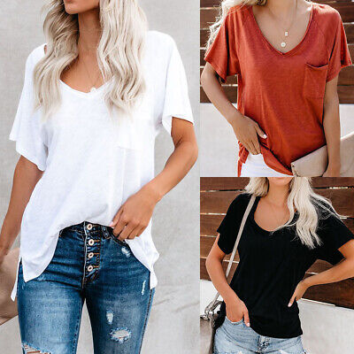 AU19.66 • Buy Womens V Neck T Shirts Short Sleeve Blouse Loose Tops Summer Casual Solid Shirt